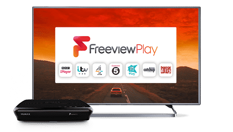 TV showing freeview and a freeview set top box sat in front of the tv
