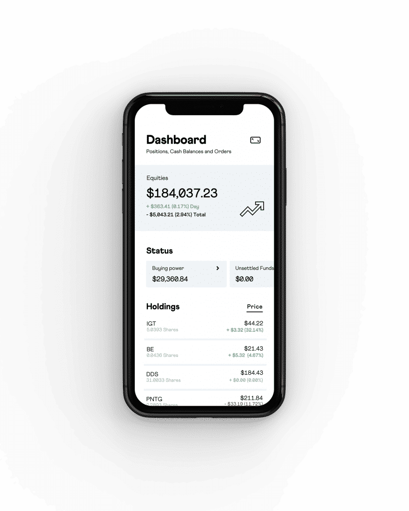 mobile phone showing dashboard on stake app